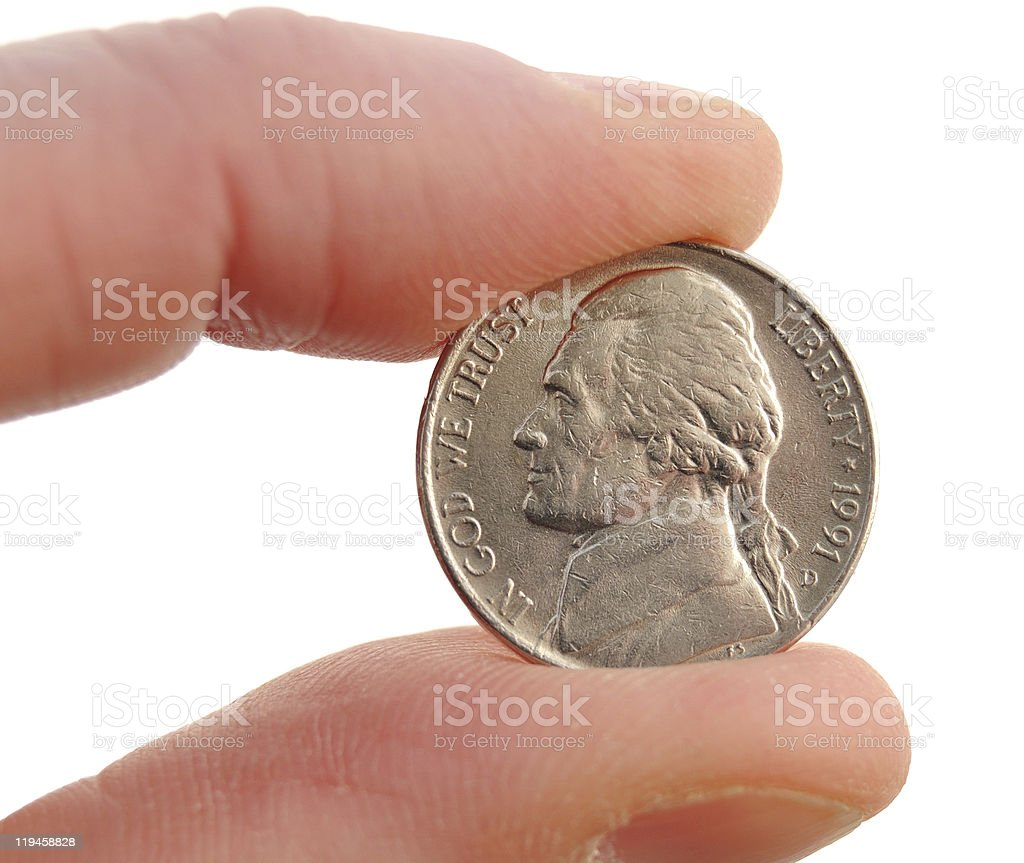 Close-up of Jefferson Nickel stock photo