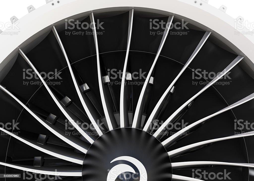 Close-up of jet fan engine turbo blades stock photo