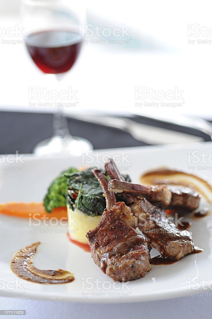 close-up of juice roasted lamb chops royalty-free stock photo