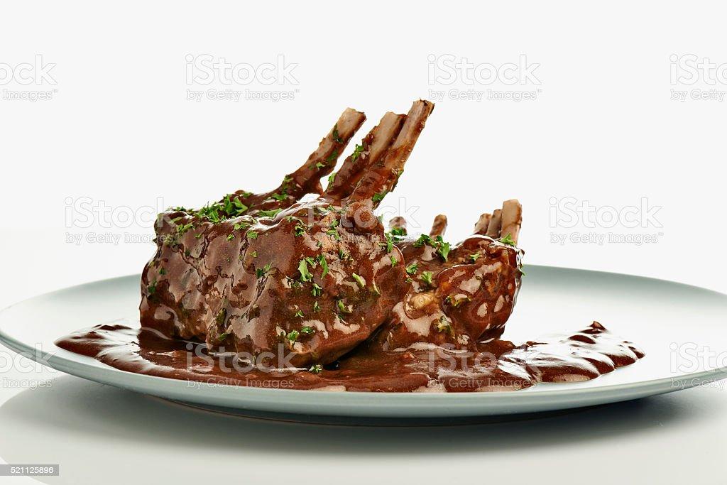 close-up of juice roasted lamb chops stock photo
