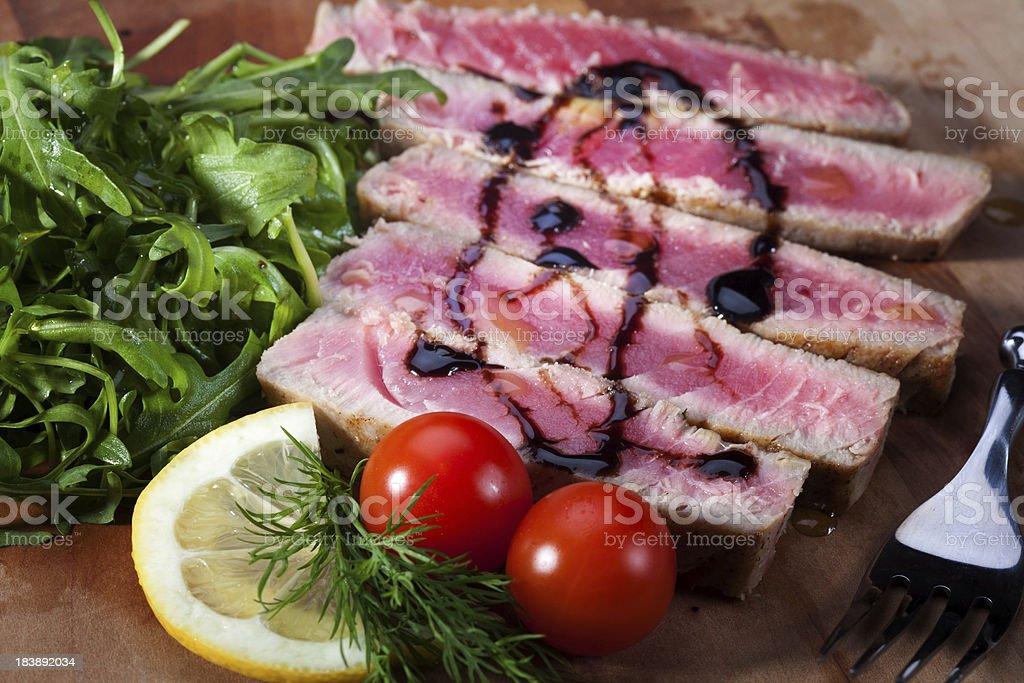 Close-up of juicy tuna steak royalty-free stock photo