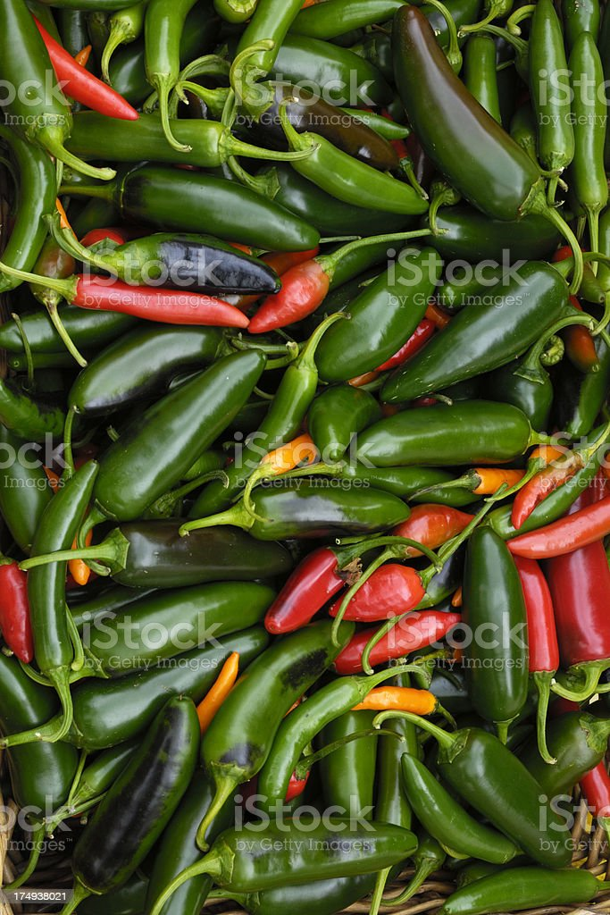 Close-up of Just Harvested Organic Peppers in Basket stock photo