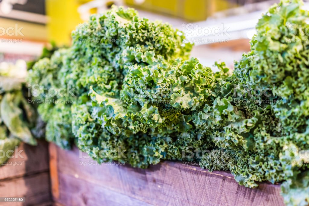 Closeup of kale greens in market store stock photo