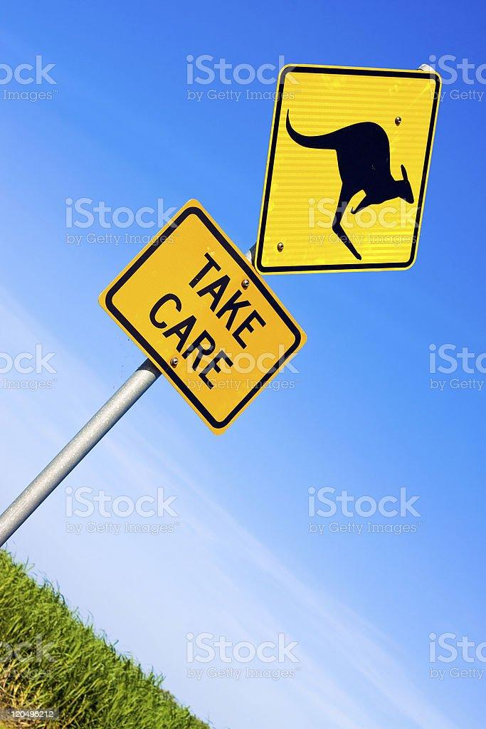 Closeup of kangaroo road  sign royalty-free stock photo