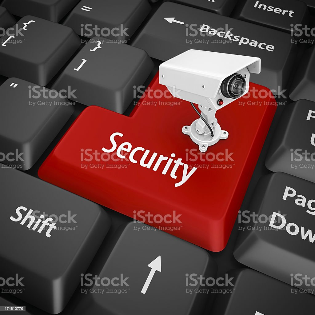 Close-up of keyboard with a security key in red royalty-free stock photo
