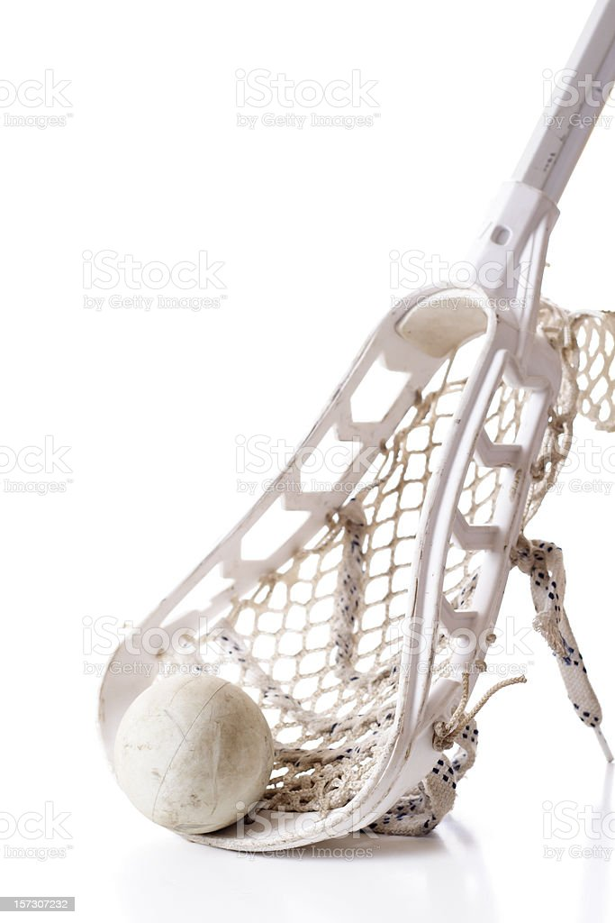 Close-up of lacrosse equipment against white background stock photo