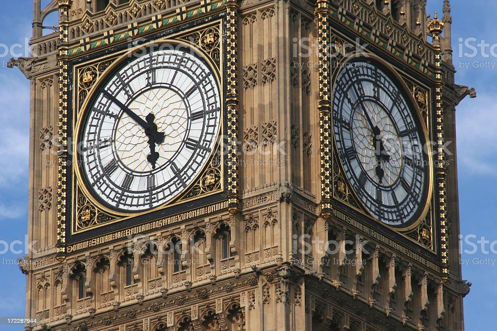 Close-up of large clock Big Ben royalty-free stock photo