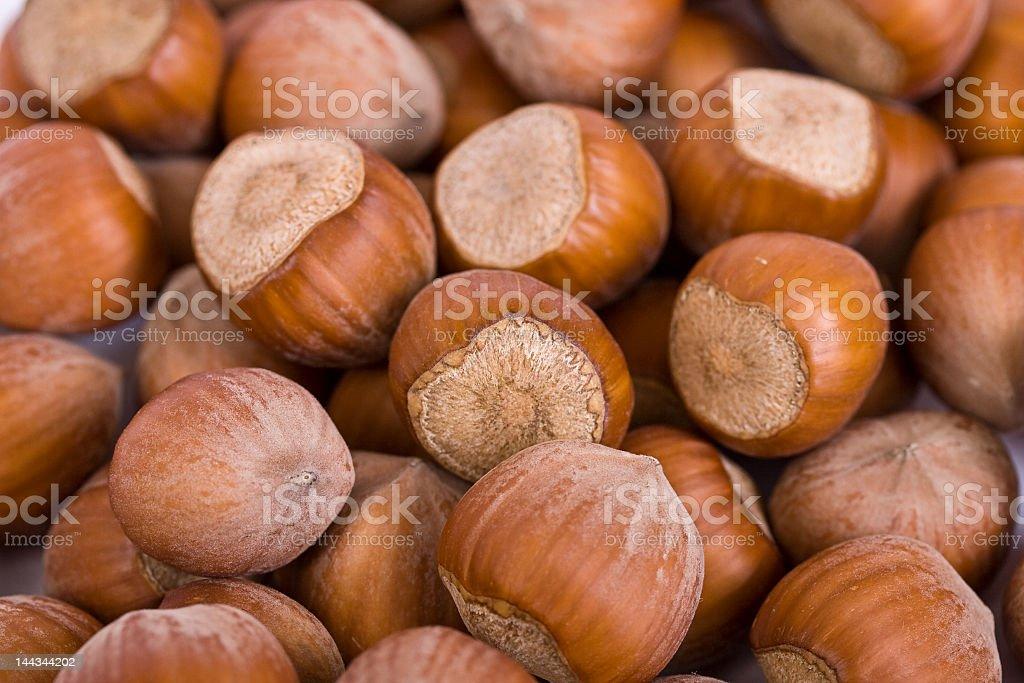 Close-up of large group of hazelnuts stock photo
