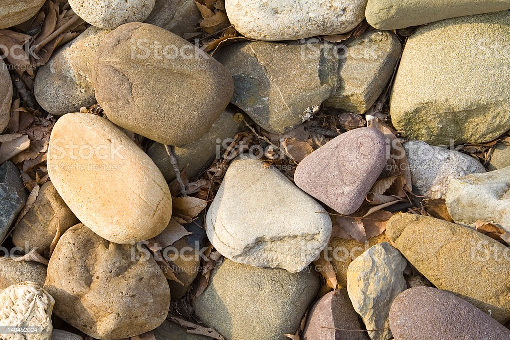 Closeup of Large River Stones Leaf Debris royalty-free stock photo