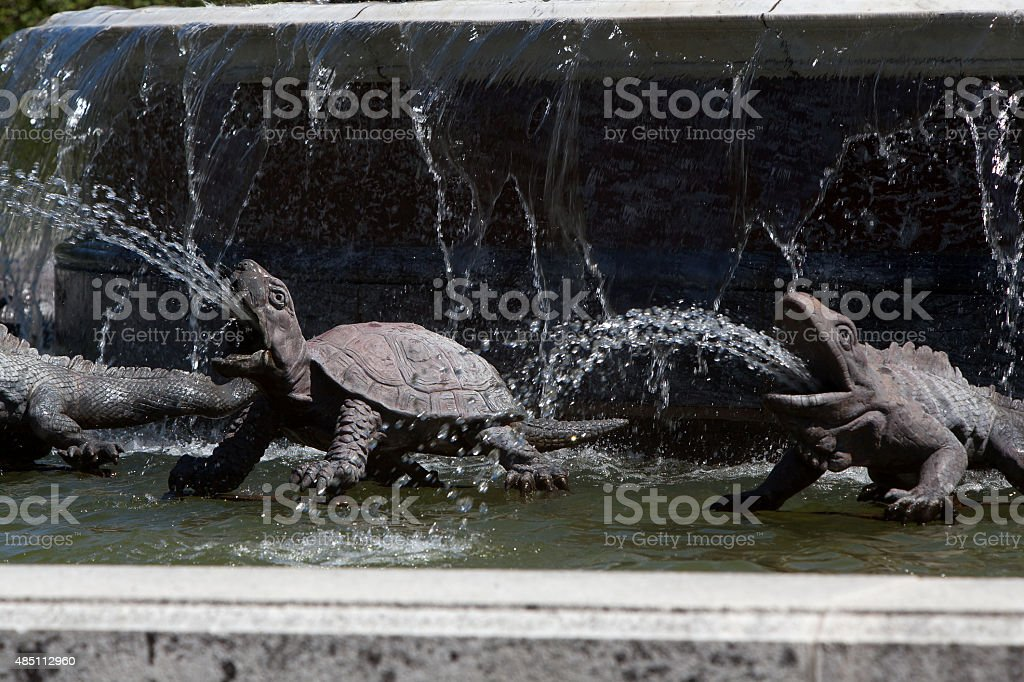 Closeup of Latona fountain at Herrenchiemsee, Bavaria stock photo