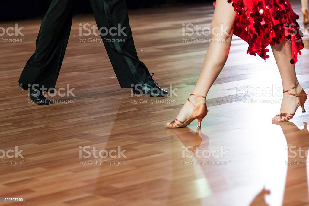 Closeup of Legs of Two Professional Dancers stock photo