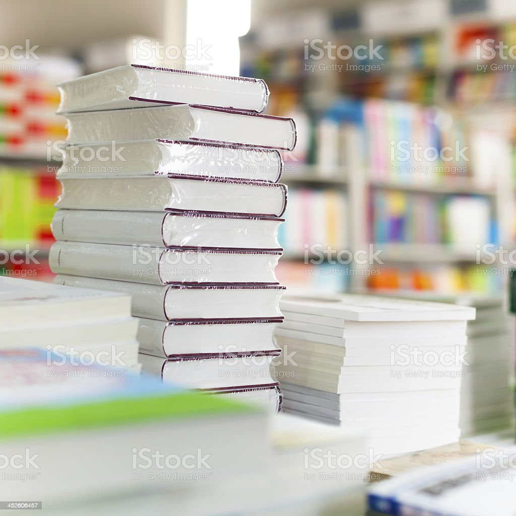 Closeup of library books stock photo