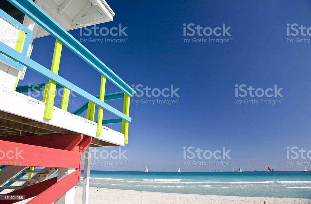 Close-up of lifeguard station on Miami Beach stock photo