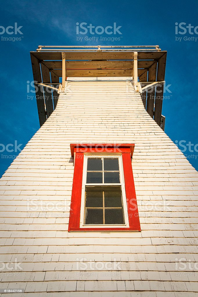 Close-Up of Lighthouse in Prince Edward Island, Canada stock photo