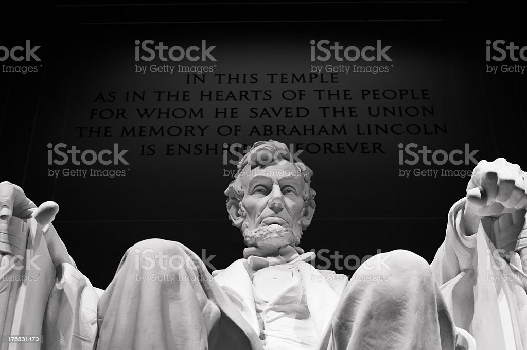 Close-up of Lincoln Memorial at night stock photo