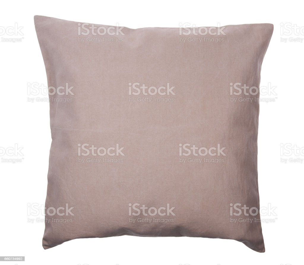 Close-up of linen pillow isolated stock photo