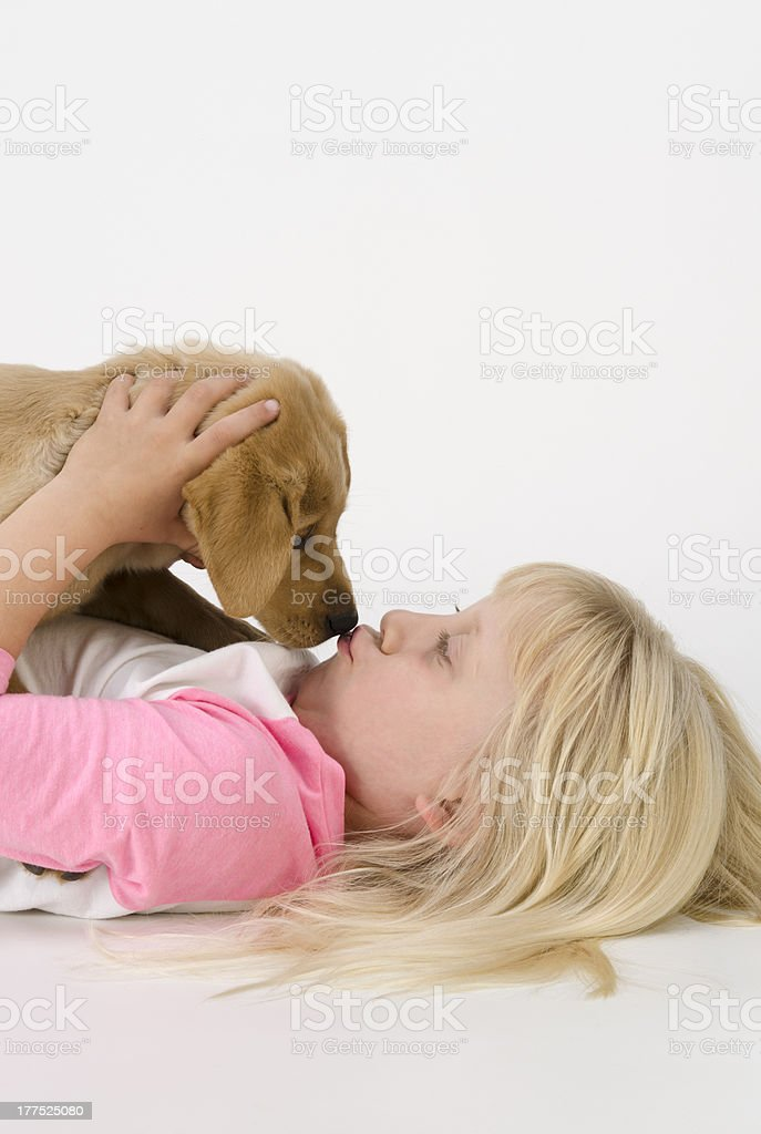 Close-up of Little Girl Kissing Her Puppy-isolated on white stock photo