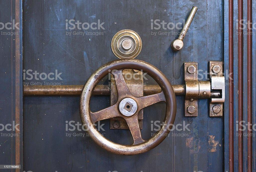 Close-up of locked metal vault stock photo