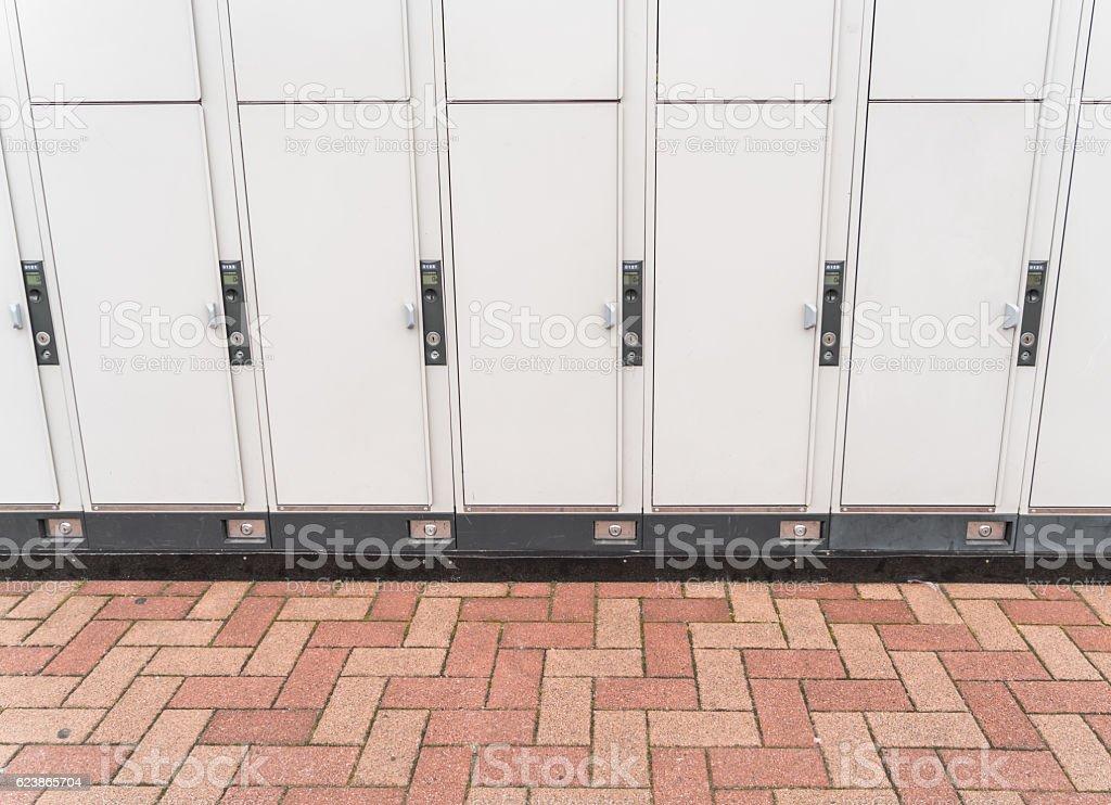 Close-up of lockers stock photo