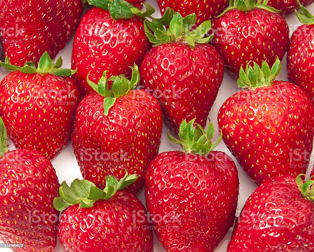 Close-up of luscious ripe strawberries. stock photo