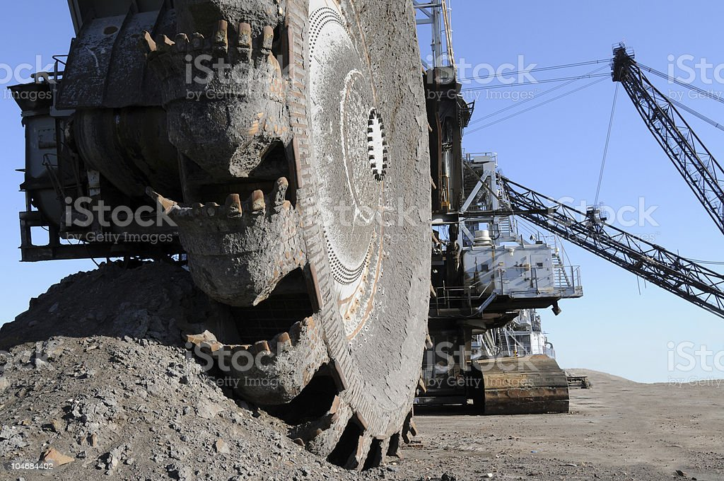 Close-up of machinery in the oil sands mine in Alberta stock photo