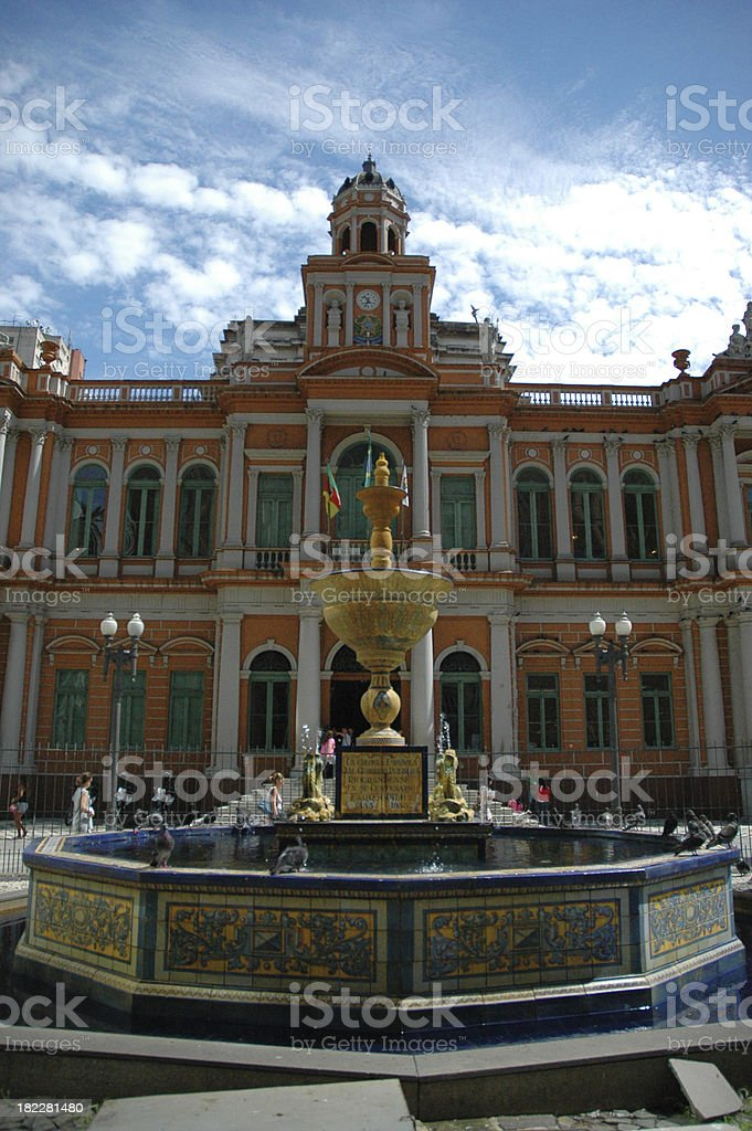 Close-up of magnificent Porto Alegre City Hall in Brazil royalty-free stock photo