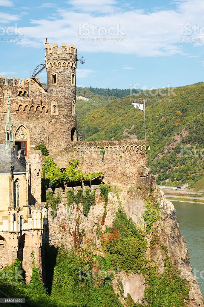 Close-up of magnificent Rheinstein Castle located in hill stock photo