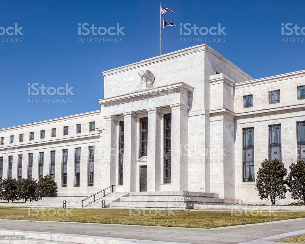 Close-up of magnificent United States Federal Reserve stock photo
