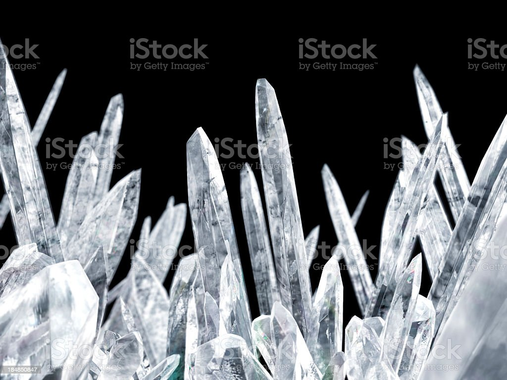 Close-up of magnified crystals over a black background stock photo