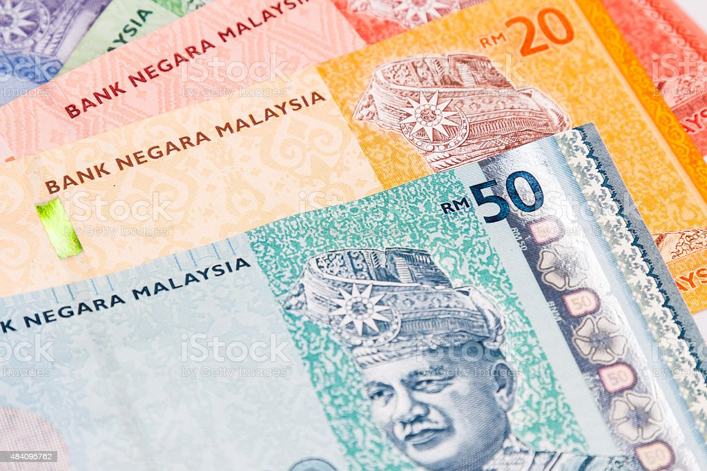 Closeup of Malaysia Ringgit currency notes stock photo