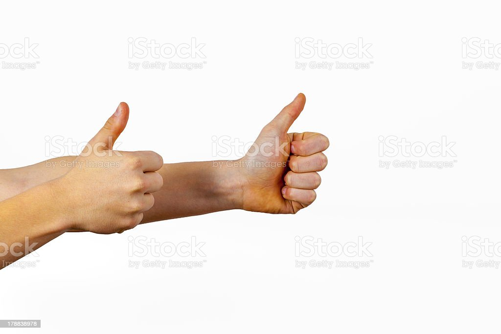 Closeup of male hand showing thumbs up sign royalty-free stock photo