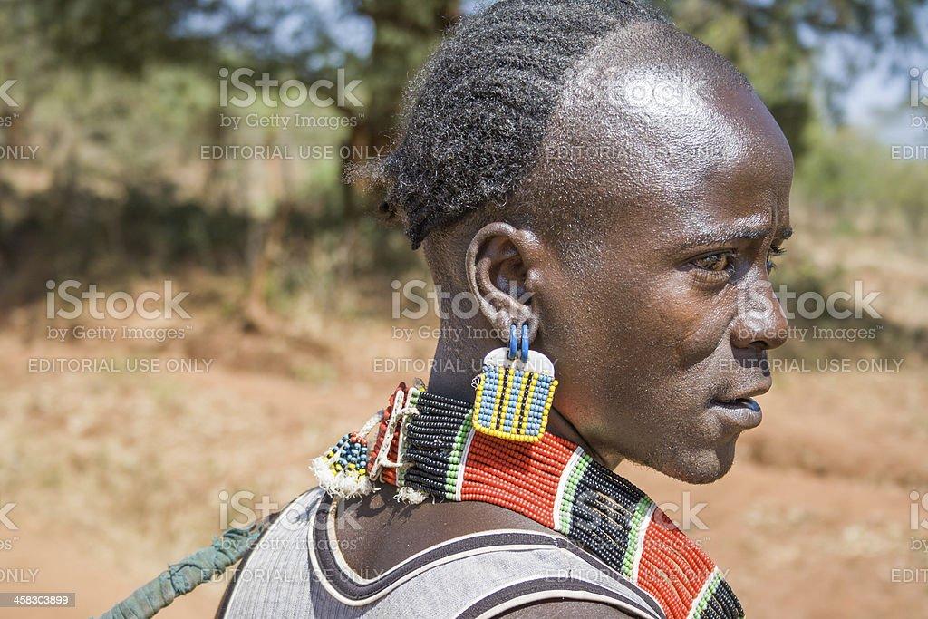 Closeup of man, ethnic Hamer-Banna group royalty-free stock photo