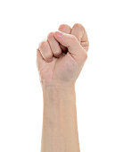 Closeup of man fist isolated on white background