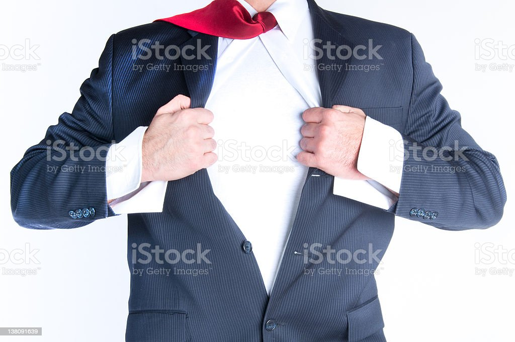 Close-up of man ripping suit jacket and shirt open royalty-free stock photo