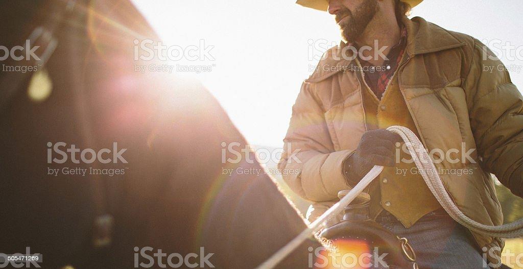 Close-up  of man sitting on horse with sunglare stock photo