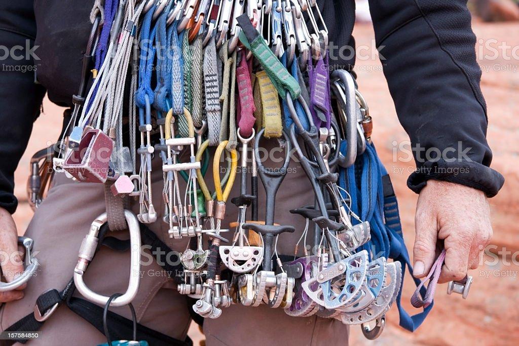 Close-up of Man wearing climbing gear stock photo