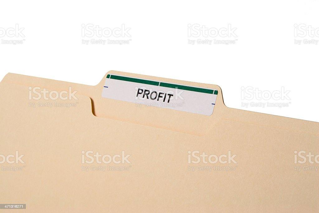 Close-up of manila folder labelled 'PROFIT' on white royalty-free stock photo