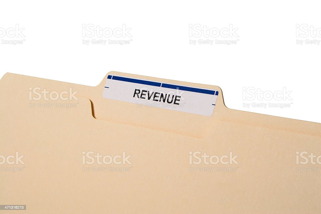 Close-up of manila folder labelled 'REVENUE' on white royalty-free stock photo