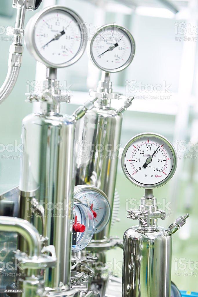 Closeup of manometer in a boiler room stock photo