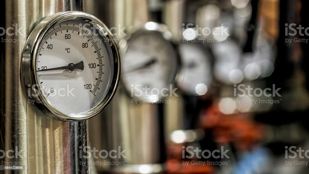 Closeup of manometer with several others blurred in the back stock photo