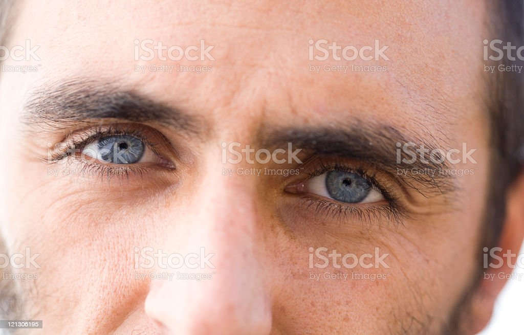 Close-up of man's eyes with dark hair and blue eyes royalty-free stock photo