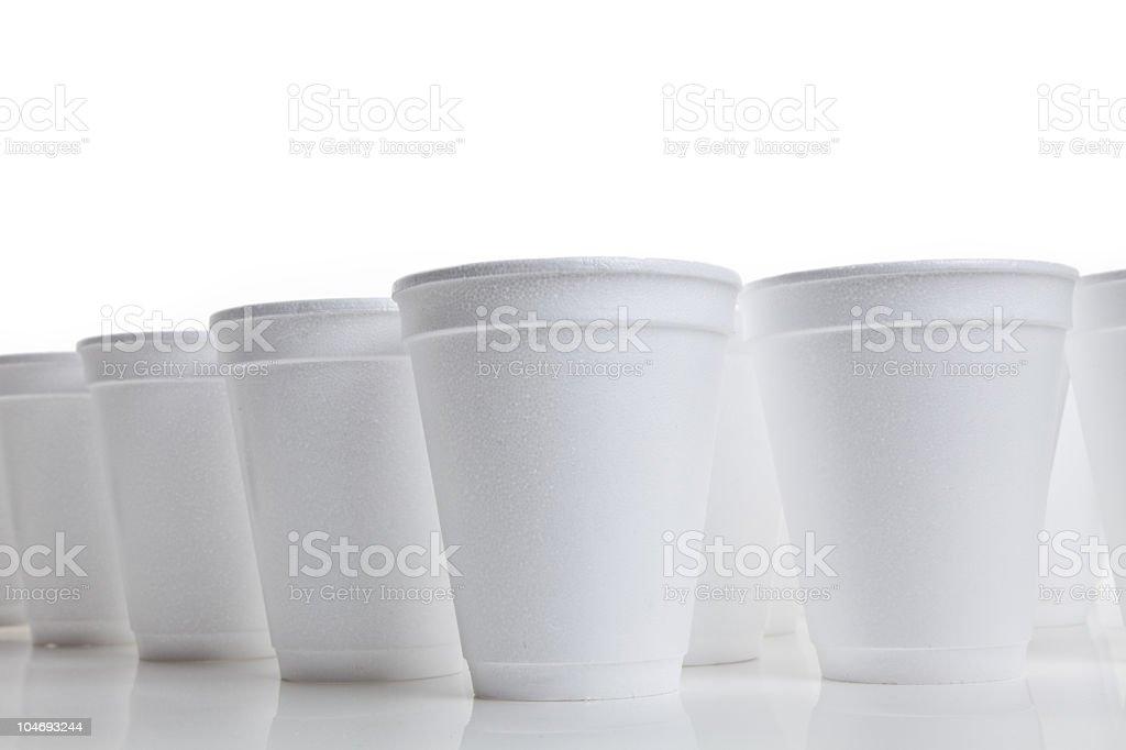 Closeup of many white Styrofoam cups on white background stock photo
