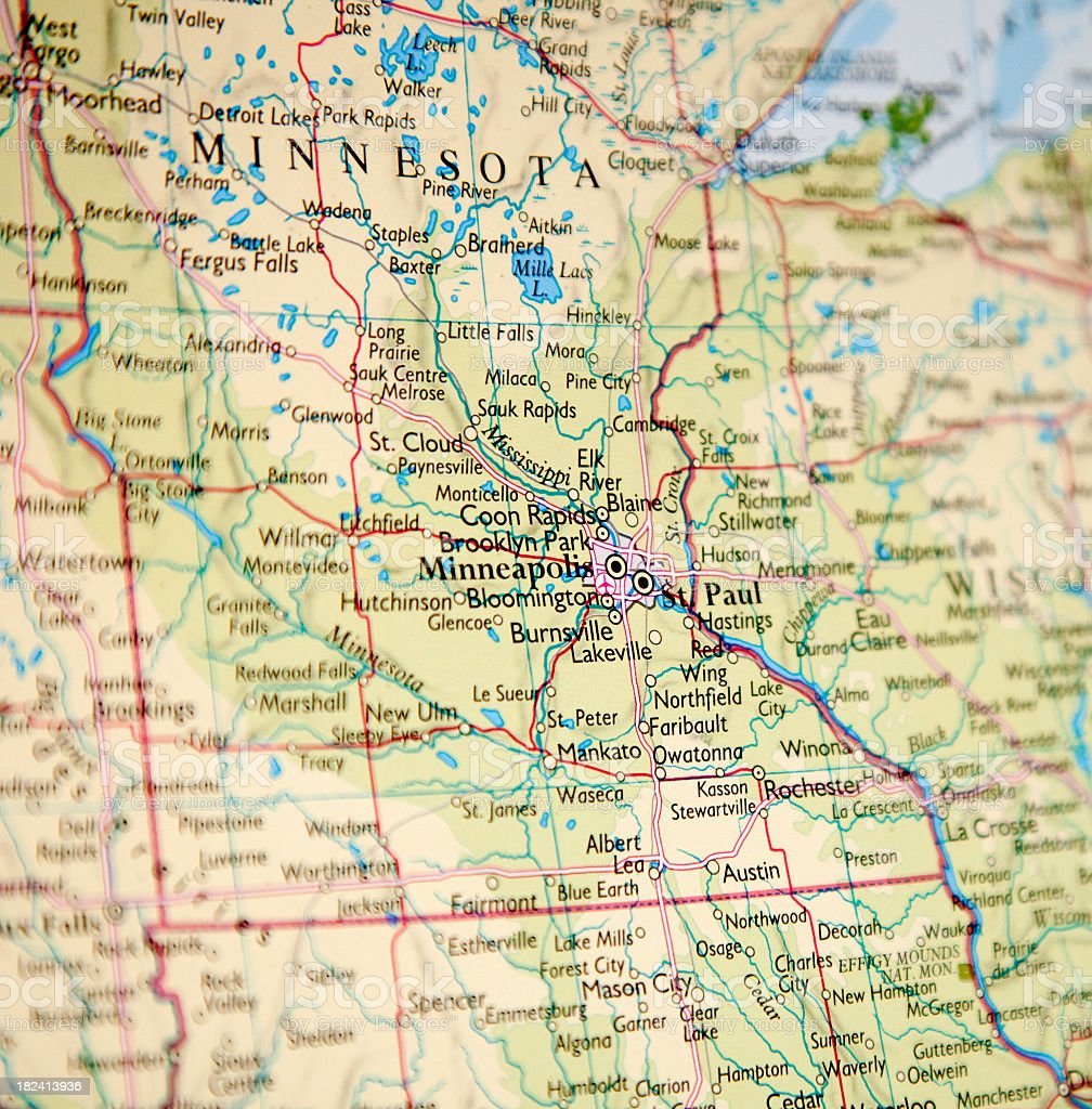 Closeup of map of Minnesota with blurred vignette stock photo