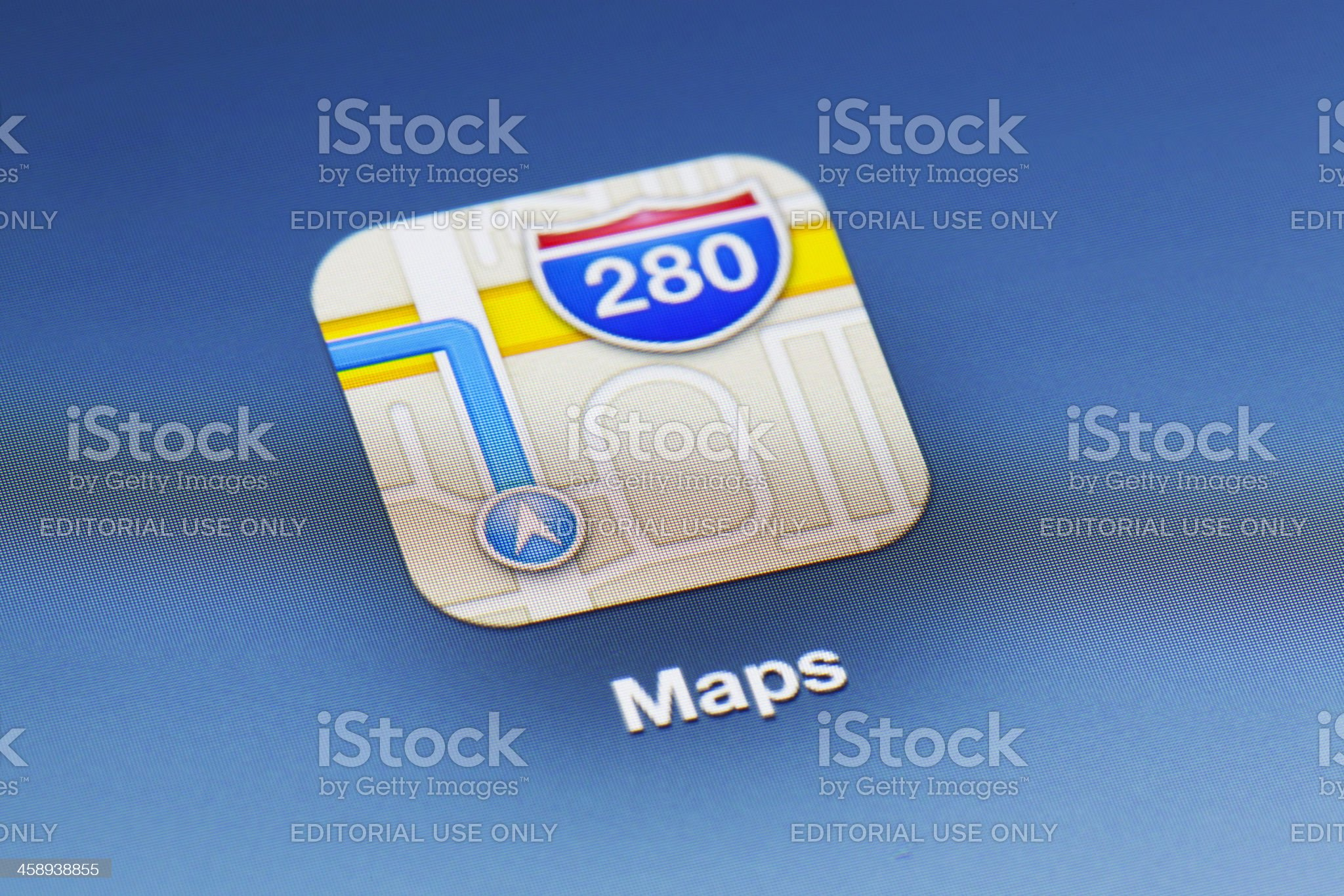 Close-up of Maps app on a new ipad royalty-free stock photo
