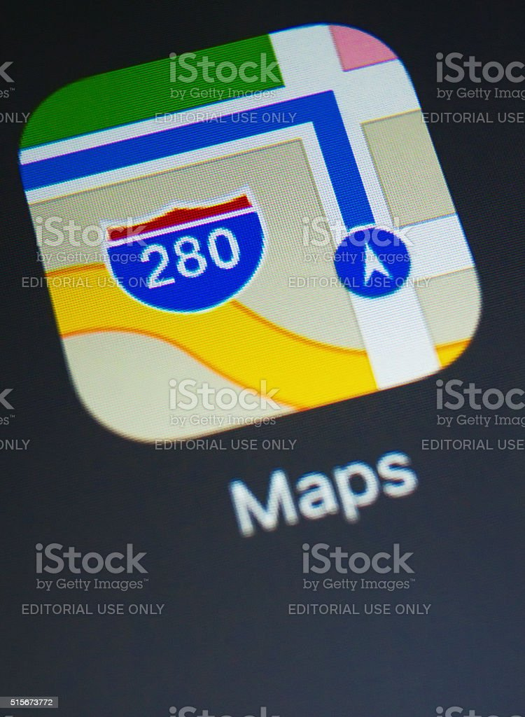 Close-up of Maps app on a new ipad stock photo