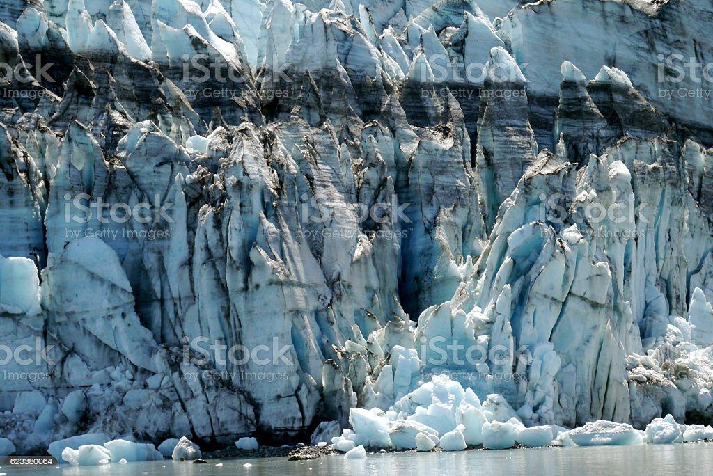 close-up of Margerie tidewater glacier in Glacier Bay, Alaska stock photo