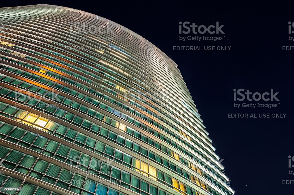 Closeup of Marriott West India Quay hotel building in London stock photo