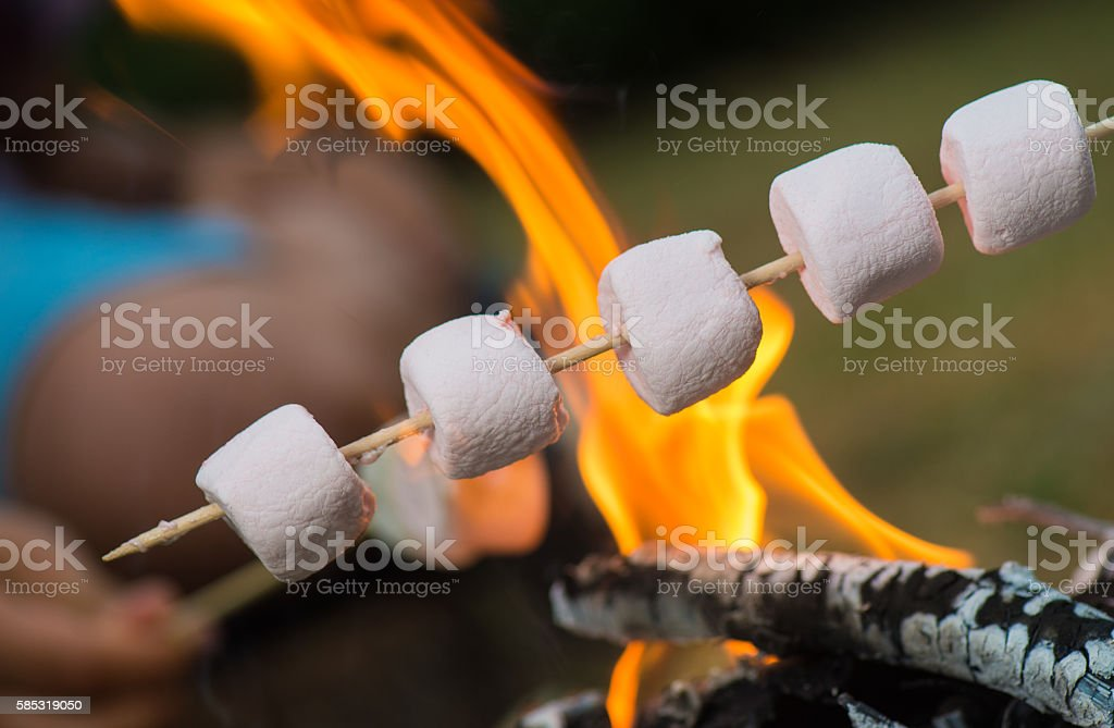 Close-up of marshmallows roasting in campfire stock photo
