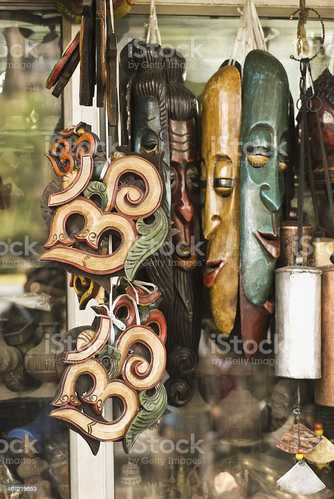 Close-up of masks in a store royalty-free stock photo