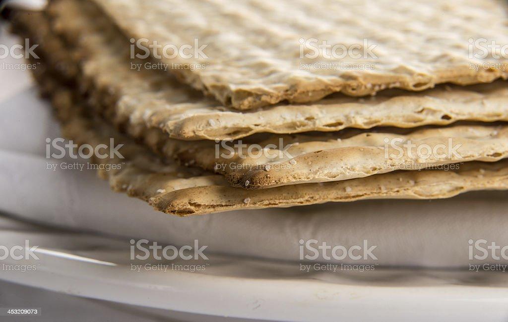 Closeup of Matzah on Plate royalty-free stock photo